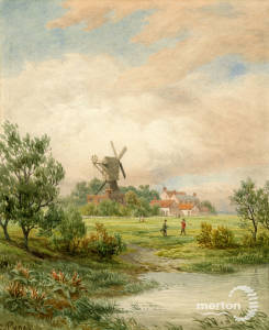 Windmill on Wimbledon Common: Painting by S.Pyne