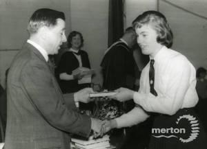 Mr E J Adsett, Borough Librarian and Carol Hogg