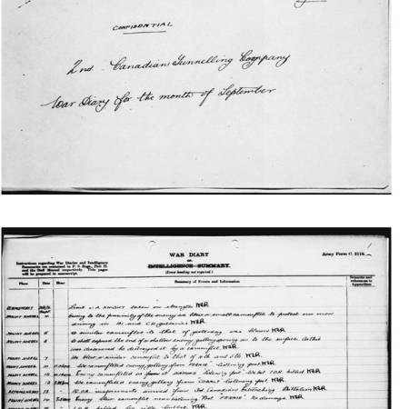 War Diary for the the 2nd Canadian Tunnelling Company - 12 September 1916