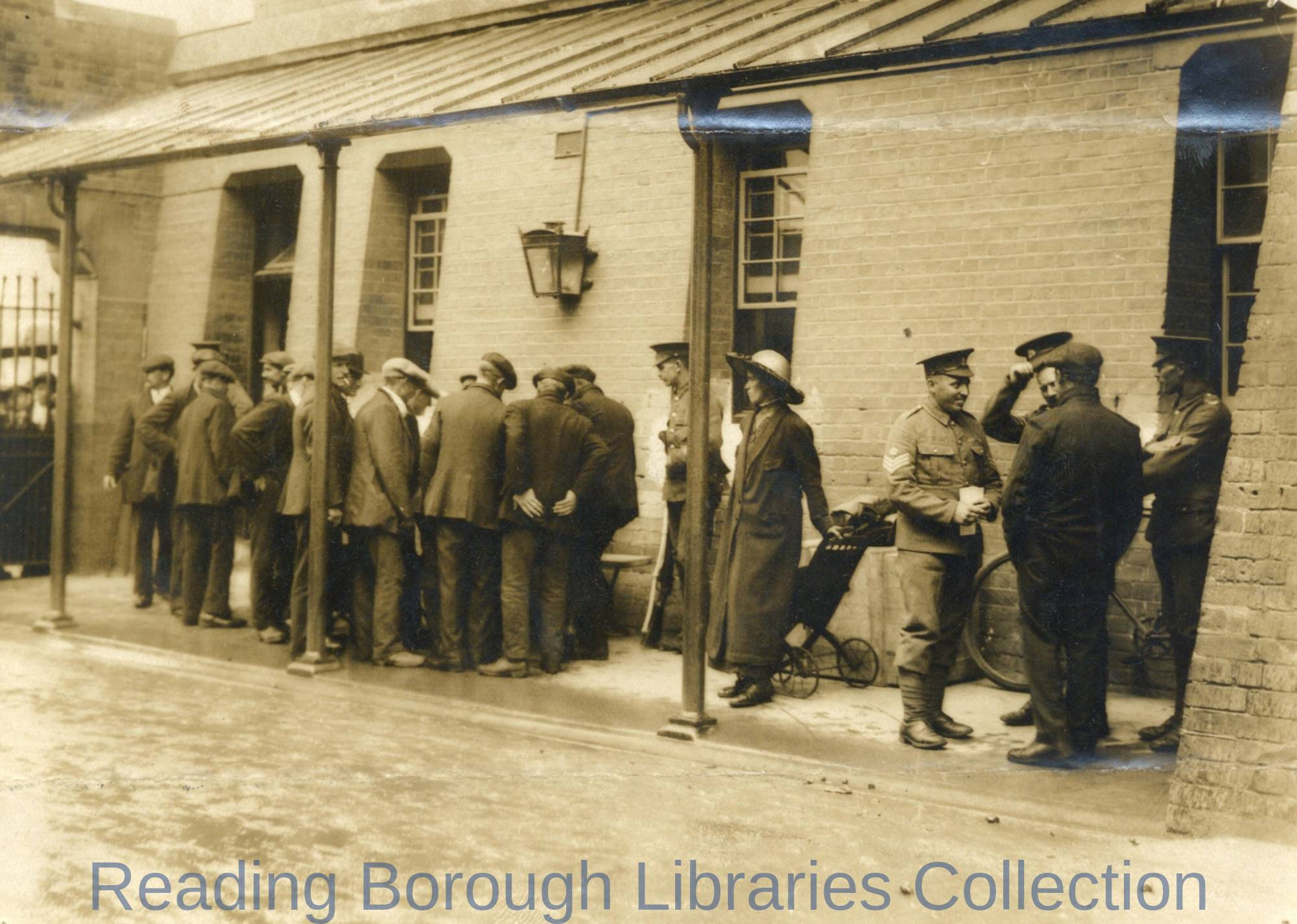 Reservists, Royal Berkshire Regiment, Reporting for Duty, Brock Barracks, Reading, August 1914.