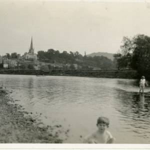 RGE042 - People, mostly children, playing in the river Wye, Ross-on-Wye.jpg