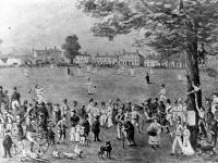An early cricket match on Lower Green, Mitcham
