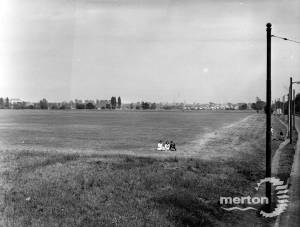 Playing fields created on a former tip, Mitcham Common