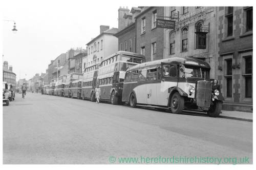 Buses queuing on St Owen Street, Hereford