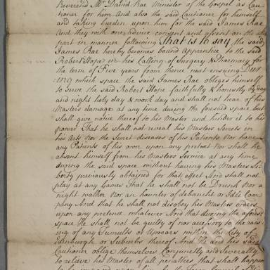 Indenture between Robert Hope, surgeon apothecary of Edinburgh and James Rae, son of John Rae, writer, for a period of five years