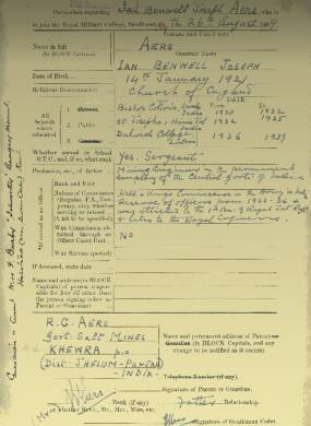 RMC Form 18A Personal Detail Sheets Aug 1939 Intake