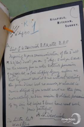 Letter - From the Father of George Devenish