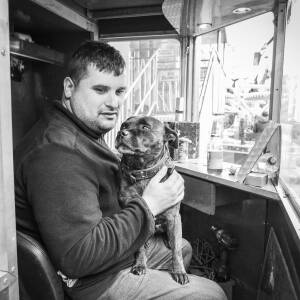 Operator and his dog.