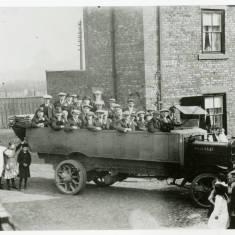 Charabanc leaving Railway Street, Hebburn