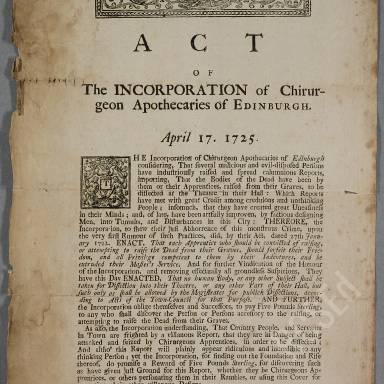 Acts of Edinburgh Town Council granting privileges or favours to the Chirurgians, 1504-1785