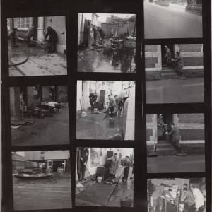 Contact sheet: cleaning up after Floods at Hampton Bishop.