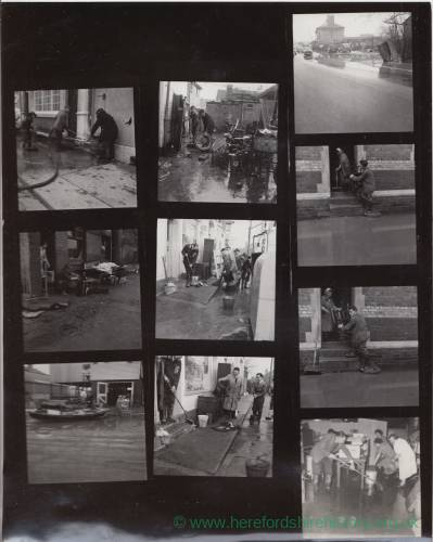 Contact sheet: cleaning up after Floods at Hampton Bishop, 1960