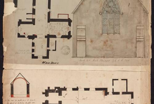 Ground plan of West Down Church and ground plan of Georgeham Church