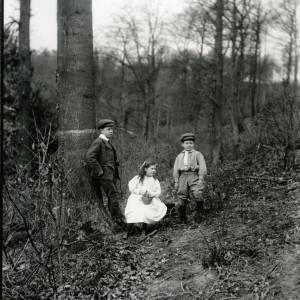 G36-008-03 Two boys and a girl with little basket in wood.jpg