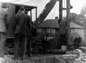 Pile driving for bridge foundations, Windsor Avenue
