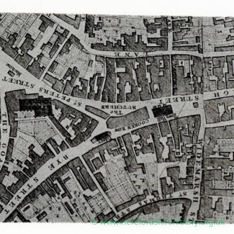 Centre of Hereford city from Taylor's plan, c.1757