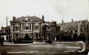 Wimbledon Town Hall and the Baptist Church, Queen's Road
