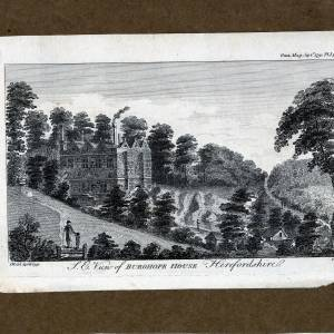 Burghope House, Wellington, Herefordshire, print of south east view 1791