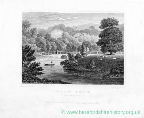 Sufton Court, Mordiford, Herefordshire, landscape print, 1830