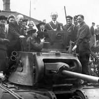 Bootle, the mayor in the turret of a tank, 1941