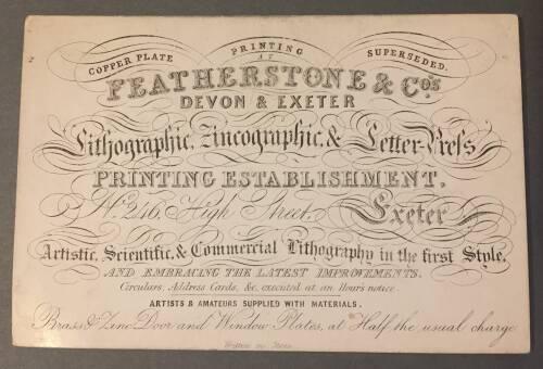 Featherstone & Co's,  printing establishment, 246 High Street, Exeter, 19th Century