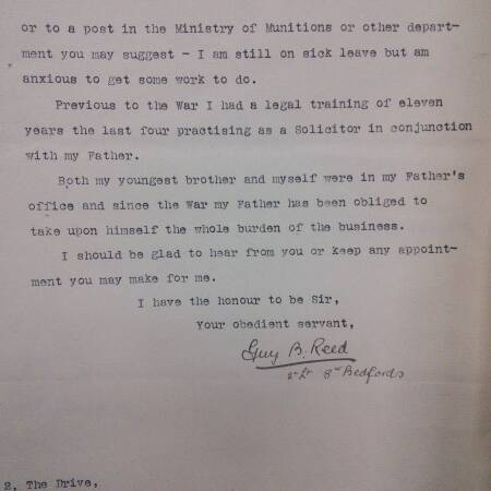 Letter to War Office (Part 2) - GB Reed