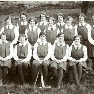 Group of young girls, perhaps a hockey team