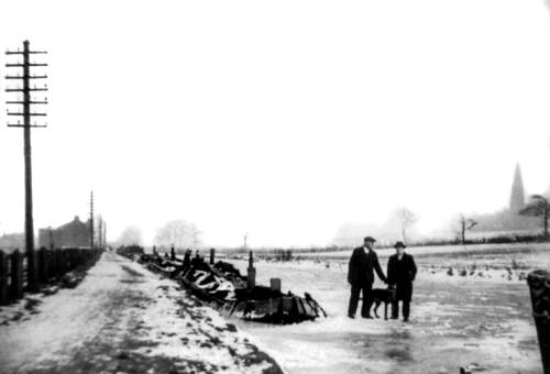 Frozen barges on the Bridgewater Canal, 1947
