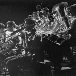 457 - Part of brass band playing at concert