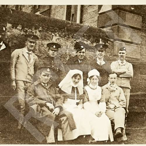 Group Photograph of Patients and Nurses in Hospital Grounds