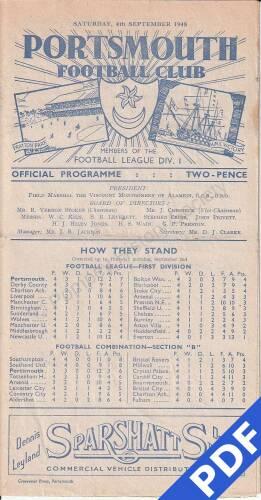 19480904 Official Programme Southampton Home FC