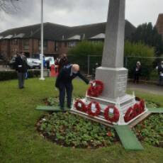 2020 11 November Armistice Day Laying the HRHS Wreath at the Houghton Regis War Memorial