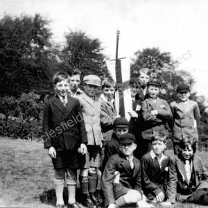 Group Of Children With Banner Whit Monday At The Woods May 1931