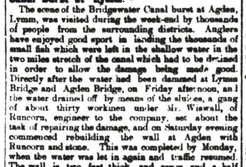 Bridgewater Canal burst, Agden