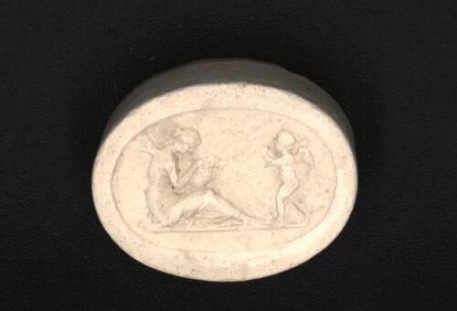 Victorian Intaglio in Plaster, woman and cherub