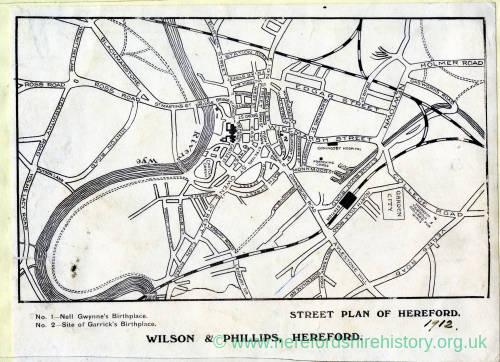 Street plan of Hereford 1912