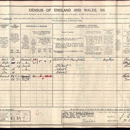 1911 Census - 91 Worple Road, Wimbledon