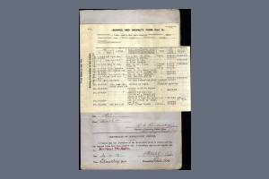 Service and Casualty Form from the Service Papers of Private Basil Guy Fawcett