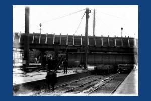 Removal of original bridge, Wimbledon Station