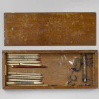 Drawing instrument box containing cardboard pencils