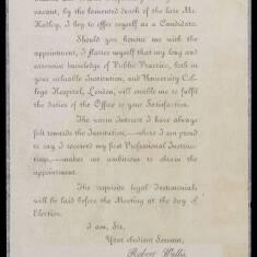 Robert Wallis - Application for Surgeon of South Shields