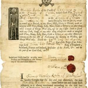 Martha Barton, burial certificate, 6th April 1688