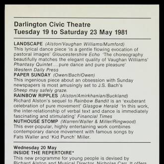 Darlington Civic Theatre, May 1981