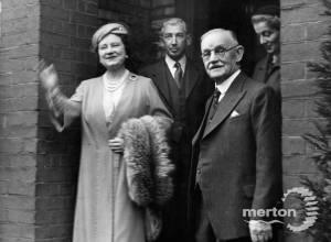 Queen Elizabeth, the Queen Mother visiting Citizens Advice Bureau.