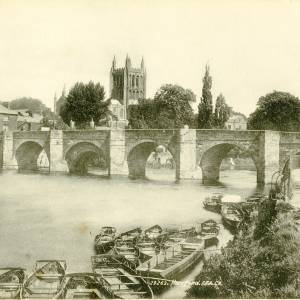 River Wye and bridge with ferry boats