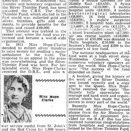 Newspaper Extract - Miss Hope-Clarke