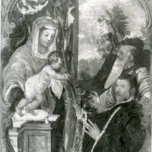 G36-213-08 Painting of Virgin & Child taking sceptre from nobleman, in a cartouche - winged lion above.jpg