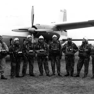 Pilots and engineers at Shobdon, Herefordshire.