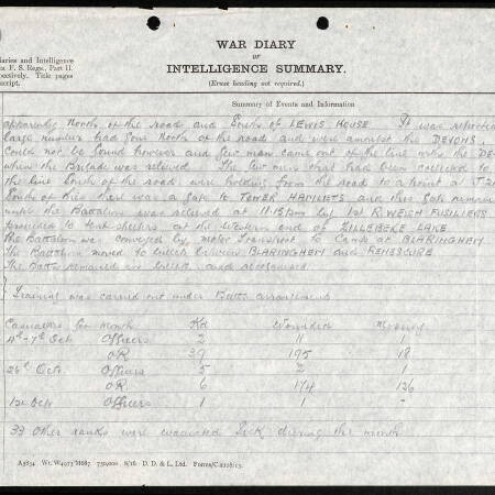 War Diary for 2nd Battalion, Border Regiment - 26 October 1917