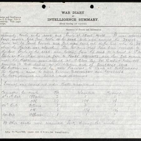 War Diary for 2nd Battalion, Border Regiment - 26 October 1917